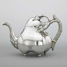 Russian - 1894 - Joseph Nordberg ~ For A Spot of Tea Vintage Silver, Antique Silver, Teapots Unique, Silver Teapot, Bronze, Tea Pot Set, Teapots And Cups, Tea Time, Vases