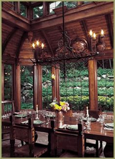 A version of this beautiful dinning room would fit into my dream home. I really like the windowed atrium in the ceiling. Beautiful Space, Beautiful Homes, Conservatory Design, Lakeside Cottage, Dream Rooms, Looks Cool, Log Homes, Architecture, My Dream Home