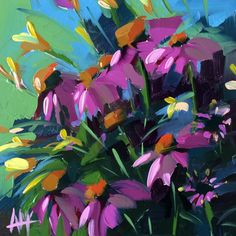 Cone Flowers and Daylilies original floral oil by prattcreekart