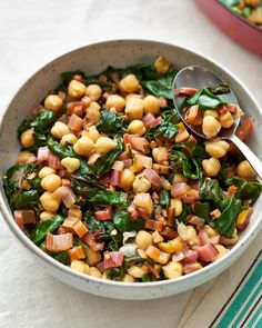 Swiss Chard with Garbanzo Beans | Kitchn Garbanzo Bean Recipes, Cooking Garbanzo Beans, Chard Recipes, New Recipes, Broccoli Recipes, Vegetarian Recipes, Recipies, Quinoa In Rice Cooker, Quinoa Bowl
