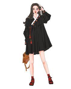 검정#한복#생활한복#그림#illustration#イラスト#drawing Korean Traditional Dress, Traditional Fashion, Traditional Outfits, Pop Fashion, Fashion Art, Modern Hanbok, Cute Skirt Outfits, Fashion Figures, Korean Girl Fashion