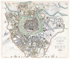 Old Map of Vienna Wien with gravures Austria 1833 by OldCityPrints