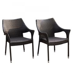 Joveco Classic Rattan Wicker Outdoor Backyard Bistro Dining Chairs - Set of Two