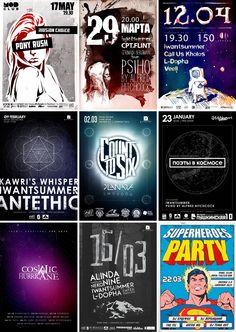 Gig Posters by St.-Petersburg-based designer Anton Popov Site: behance.net/anton_popov