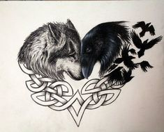 I would do thos Tattoo but not with a crow. I would do a Dragon and wolf or 2 Wolves Wolf Tattoo Forearm, Celtic Wolf Tattoo, Wolf Tattoo Sleeve, Norse Tattoo, Celtic Tattoos, Viking Tattoos, Wolf Tattoo Back, Tattoo Neck, Chest Tattoo