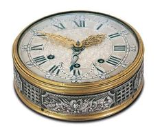 #Large traveler's alarm watch, snuff box shape in gilded brass with chased silver case band. Signed Charles Le Roy, Horloger du Roi a Paris ( Clockmaker to the King, I think)1788      http://wp.me/p291tj-bE