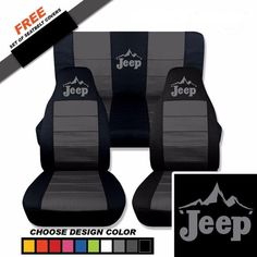 JEEP SEAT COVERS....CHOOSE YOUR COLOUR STRIPED INSERT WITH JEEP TEXT & MOUNTAIN TERRAIN If you want PLAIN COLOUR SEAT COVERS ONLY PLEASE EMAIL US.... Made from TUFF COMMERCIAL COTTON 1/4 inch padding for comfort Three layer construction Machine washable Very Durable PRICES ARE
