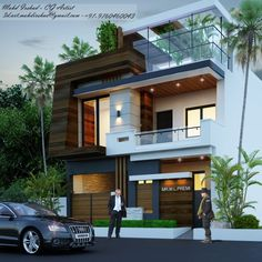 2019 – Home decoration ideas and garde ideas 3 Storey House Design, Bungalow House Design, Modern Bungalow, House Outer Design, House Front Design, Modern House Design, Front Elevation Designs, House Elevation, House Architecture Styles