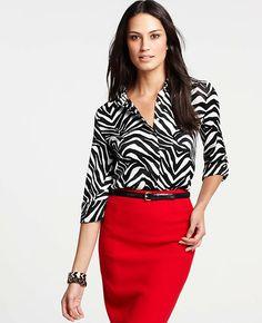 Petite Zebra Print Rolled Sleeve Shirt