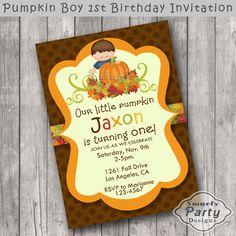 Pumpkin Boy 1st Birthday Party Invitation by SmartyPartyDesigns