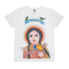 Available Monday November 6th, 9am GMT  Here at The Vampire's Wife we have collaborated with the artist-recluse Karen Constance in a t-shirt like no other. She has painted especially for The Vampire's Wife a green-eyed, black-haired girl-child that offers us a golden bird that holds a sacred cross in its mouth. The bird is the symbol at the very heart of The Vampire's Wife crest representing the hero-spirit that journeys to a darkened place and returns with the message of enlightenment an...