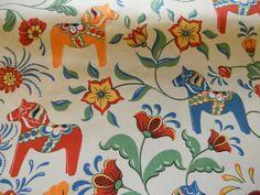 Scandinavian Swedish Ecru Dala Horse Fabric Cotton