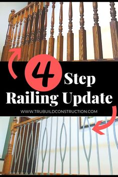 Home Remodeling Tips 4 Step Railing Update - Our simple step-by-step guide to update an oak railing with new modern metal spindles for an easy and beautiful stairway remodel! Home Improvement Loans, Home Improvement Projects, Easy Projects, Home Projects, Home Renovation, Home Remodeling, Design Your Dream House, Staircase Design, Metal Spindles Staircase