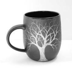 18 oz Black and White Moon Raven Tree Sgraffito Stoneware