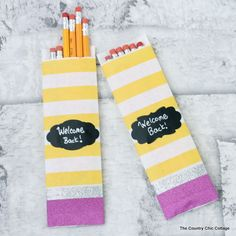 Make this pencil gift bag for a teacher or student for back to school. This quick and easy gift idea will only take minutes to make with these instructions.