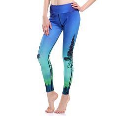 New 3D print aurora tree winter warm Harajuku punk adventure time workout push up spandex plus size fitness leggings women pants