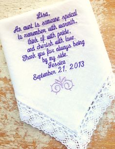 A personal favorite from my Etsy shop https://www.etsy.com/listing/163138734/embroidered-wedding-handkerchief-custom