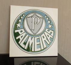 brasão Verdão - entalhado em placa MDF - pintura epóxi verde brilhante