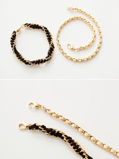 DIY: suede chain stacking bracelets