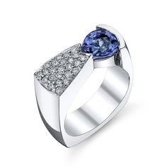 WEAR ART! This beautiful white gold ring with a pear shaped tanzanite is a classic Gauthier! IB92
