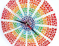 Rainbow Mosaic Glass Clock by GlasssMagic  | Hand painted stained glass