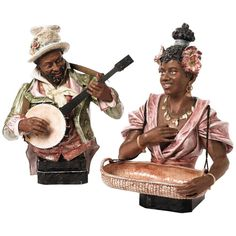 """Pair 19th-20th Century Majolica Busts of """"the Banjo Player and the Flower Lady"""""""