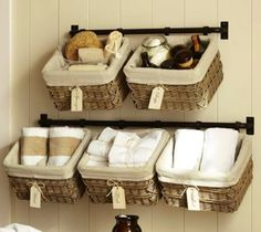 hanging baskets design ideas | Hanging baskets in the guest bathroom | Decorating ideas