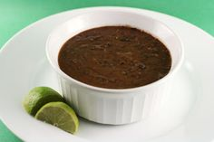 tangy black bean soup in the slow cooker; served with a lemon wedge -- mine aren't ripe yet!