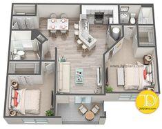 2 bedrooms 3d floor plan services, floor plan 3d,, 3d floor plan rendering