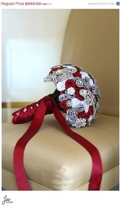 MR Scarlet Red, Gray, and White Brooch Bridal Wedding Bouquet The Karissa on Etsy, $585.00