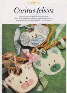 puppy, kitty and teddy bear bibs