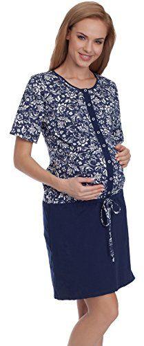 Be Mammy Damen Umstands Nachthemd mit Stillfunktion BE20-111