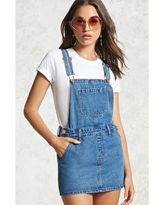 dc49fc9a7e FOREVER21 Denim Overall Dress from Forever 21