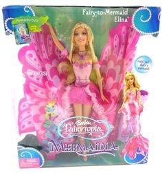 "NIB MATTEL Barbie FairyTopia Mermaidia 18"" Wings Fairy To Mermaid Elina #DollswithClothingAccessories"