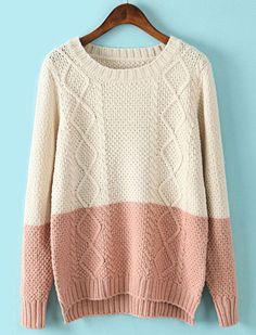 Beige Contrast Pink Long Sleeve Dipped Hem Sweater