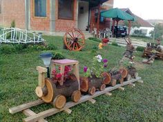 Log Train Flower Pot Decoration