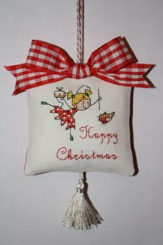 Crossstitched Christmas Ornament Happy Christmas by RainbowFelt, $12.35