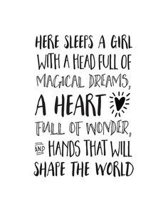 Bedroom Quote Here Sleeps a Girl with a Head by happythoughtshop