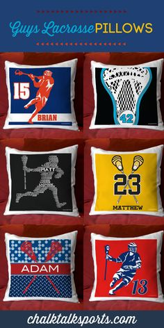Customize any room with these personalized guys lacrosse pillows! So many designs and color variations to choose from! Only from ChalkTalkSPORTS.com!