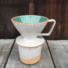 Coffee pour-over and Coffee cup mug - set Handmade ceramic duo in speckled turquoise and white ... With natural clay body rim for a beautiful