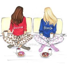 Tag your sisters and besties below!😊 We have donuts and coffee on a lazy Sunday! (This art is available in my Etsy shop, link in bio) ☕️🍩 #bestfriend #bestie #donuts #coffee #lazysunday #copic #copicmarkers #sketch #fashionbloggers #fashionillustration #fashionillustrator #illustration #illustrator #sisters #blonde #brunette #blondeandbruntte @copicmarker @etsy
