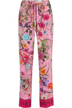 Gucci - Printed Silk Crepe De Chine Wide-leg Pants - Pink - IT48