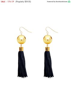 Gold Ball Earrings, Black Tassel Earrings, Black And Gold Boho Earrings, Fringe Tassel Earrings