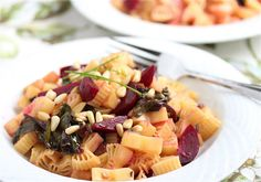 Gluten-Free Pasta with Roasted Beets, Beet Greens and Pine Nuts
