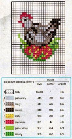 Wielkanocne wzory haftów Tiny Cross Stitch, Free Cross Stitch Charts, Xmas Cross Stitch, Beaded Cross Stitch, Simple Cross Stitch, Cross Stitch Animals, Cross Stitching, Cross Stitch Embroidery, Hand Embroidery