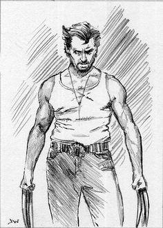 Wolverine  ACEO Sketch Card by Jeff Ward #wolverine #hughjackman #x-men #sketchcard #aceo