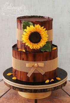 Sunflower and Burlap Birthday Cake