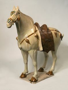Sancai-Glazed Horse with Cut-Fur Blanket -China, Tang Dynasty (618-907 AD) Glazed Pottery