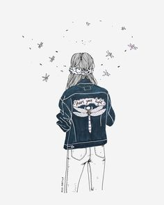 all I need / radiohead / quotes / lyrics / outfit / denim jacket / copic / girls / outlines / illustration by azul portillo