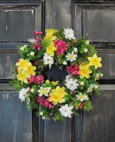 Daffodil Floral Wreath   Spring Wreath  Condo by Designawreath, $34.95